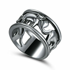 Lucky Elephant Ring Band Lightweight Size: 8